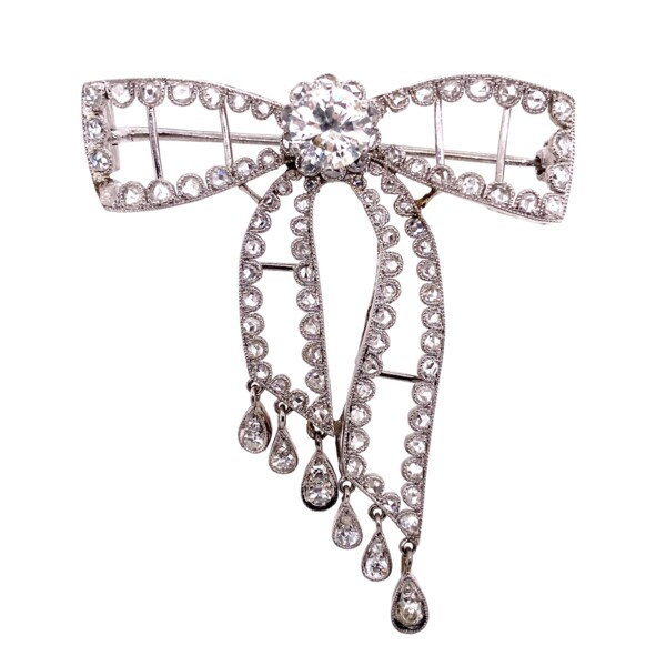 Closeup photo of Platinum Edwardian Diamond Bow Brooch 2.40tcw with Dangling Diamonds