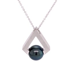 Closeup photo of 14K WG Black Tahitian 11.6mm Pearl in Modern Pendant 16""