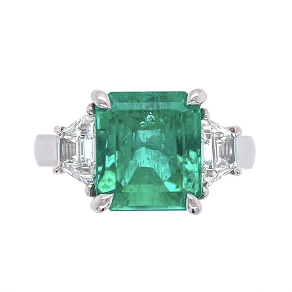 Image 2 for Platinum 3.55ct Emerald & 2 Trapezoid Diamonds .66tcw Ring, s6.5