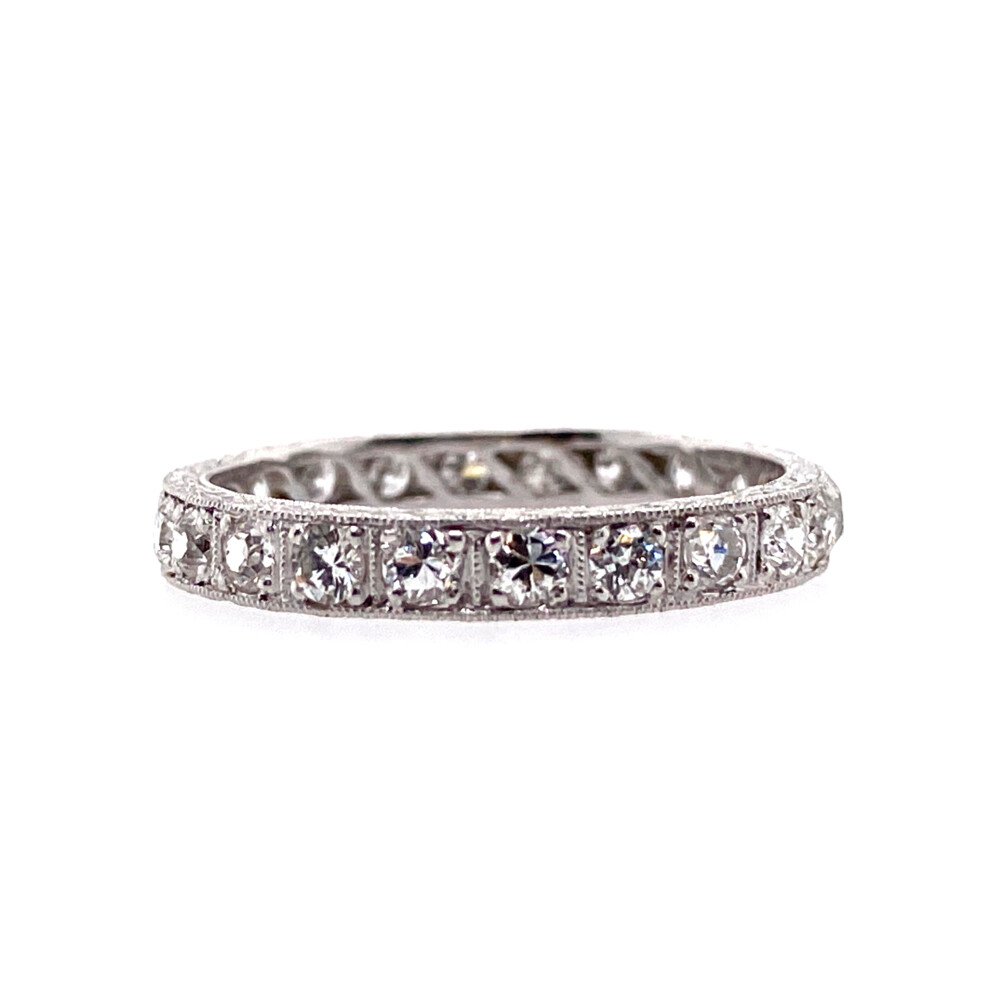 Image 2 for Platinum Art Deco Diamond Eternity Band with Engraving 1.21tcw, s8.5