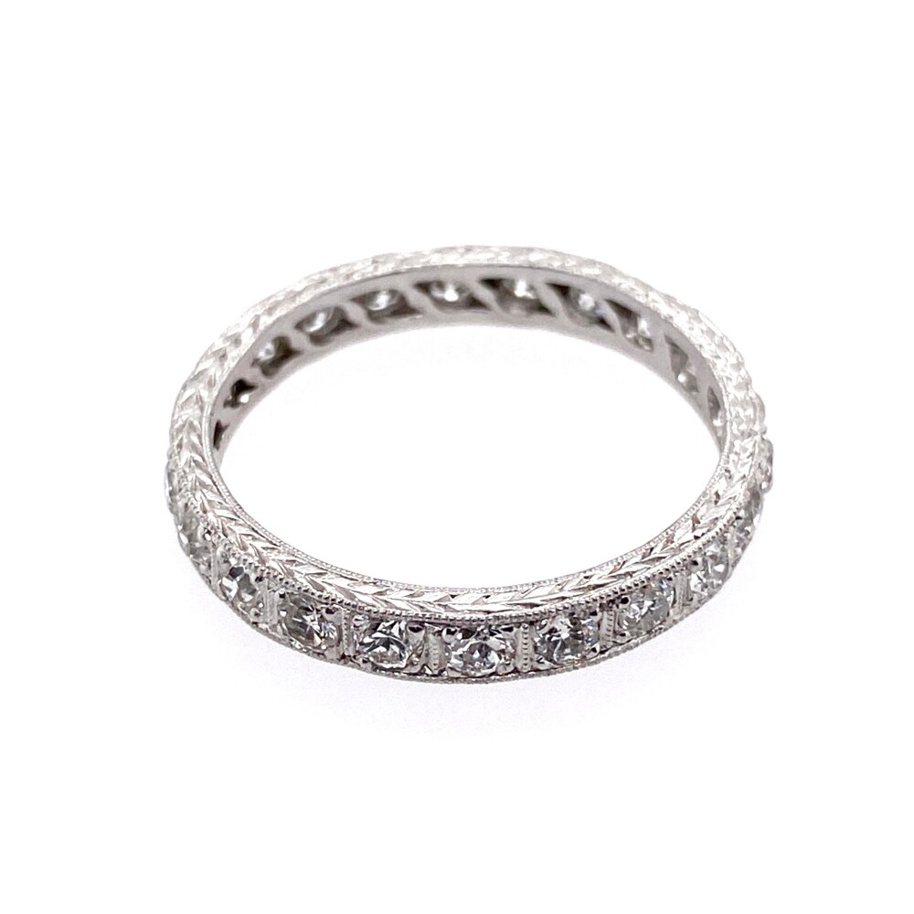 Platinum Art Deco Diamond Eternity Band with Engraving 1.21tcw, s8.5