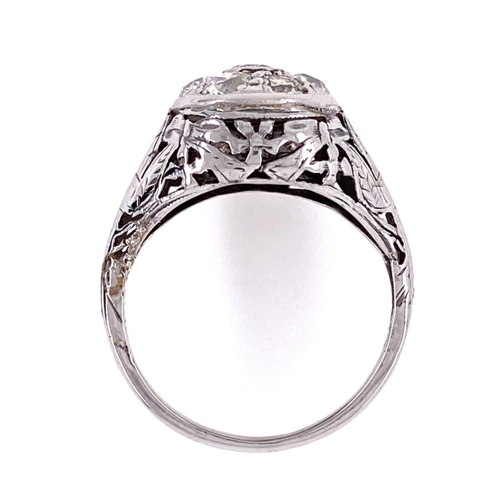 18K WG Edwardian Diamond Cluster Dome Ring .88tcw, s5