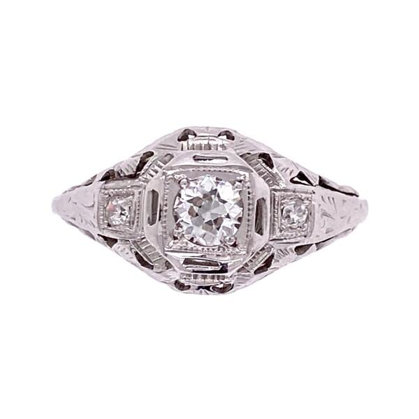 Closeup photo of 18K WG Art Deco Diamond Ring .22ct Center & .04tcw side Diamonds, s6
