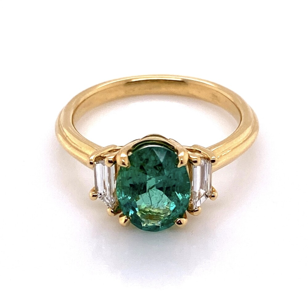 Image 2 for 18K YG Classic 1.69ct Oval Emerald & .46tcw Diamond Ring, s6.5