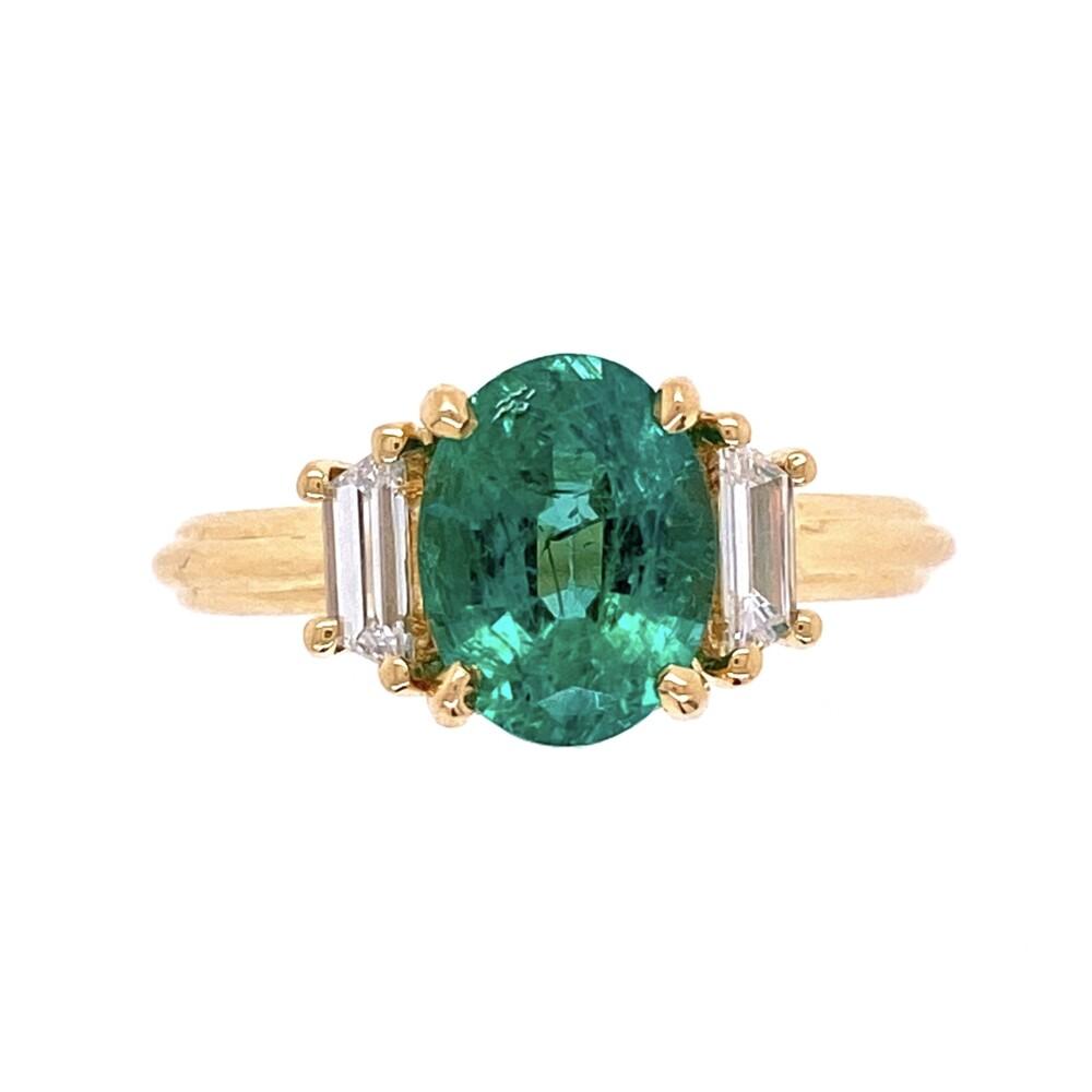 18K YG Classic 1.69ct Oval Emerald & .46tcw Diamond Ring, s6.5