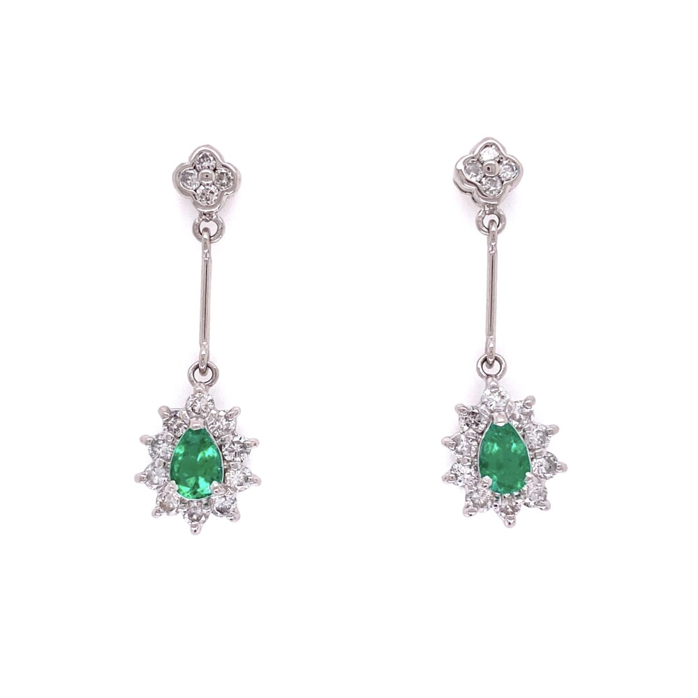 Image 2 for Platinum Pear Shape Emerald Drop Earrings with .76tcw Diamonds