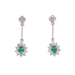 Closeup photo of Platinum Pear Shape Emerald Drop Earrings with .76tcw Diamonds