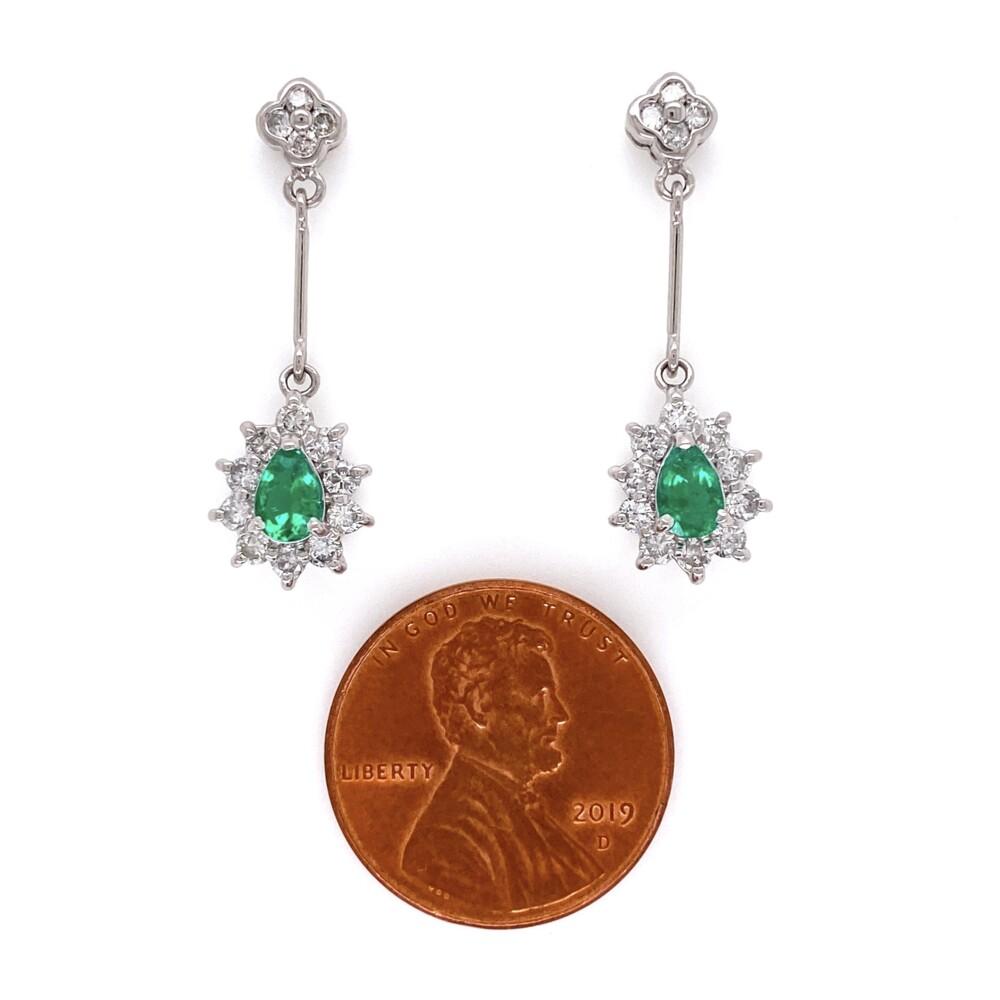 Platinum Pear Shape Emerald Drop Earrings with .76tcw Diamonds