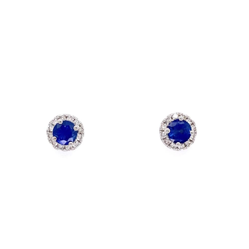 14K WG .81tcw Sapphire & Halo .19tcw Diamond Earrings