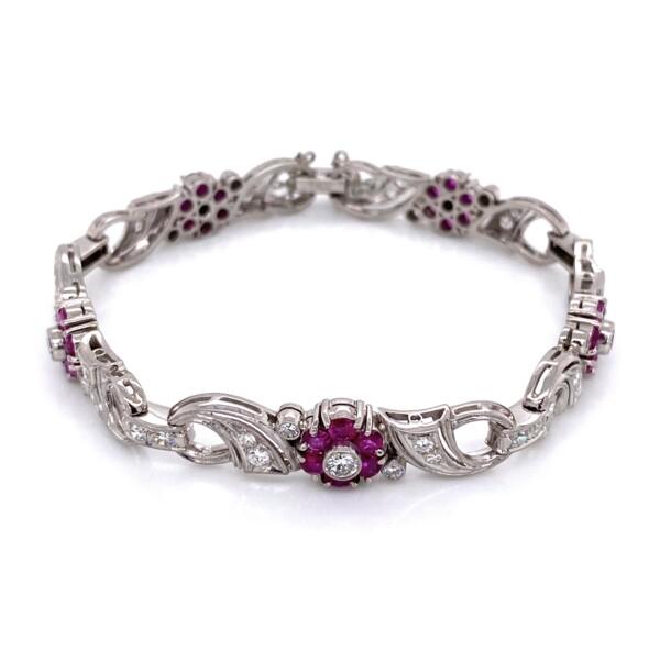 "Closeup photo of Palladium 1950's Ruby & Diamond Bracelet, 7"""