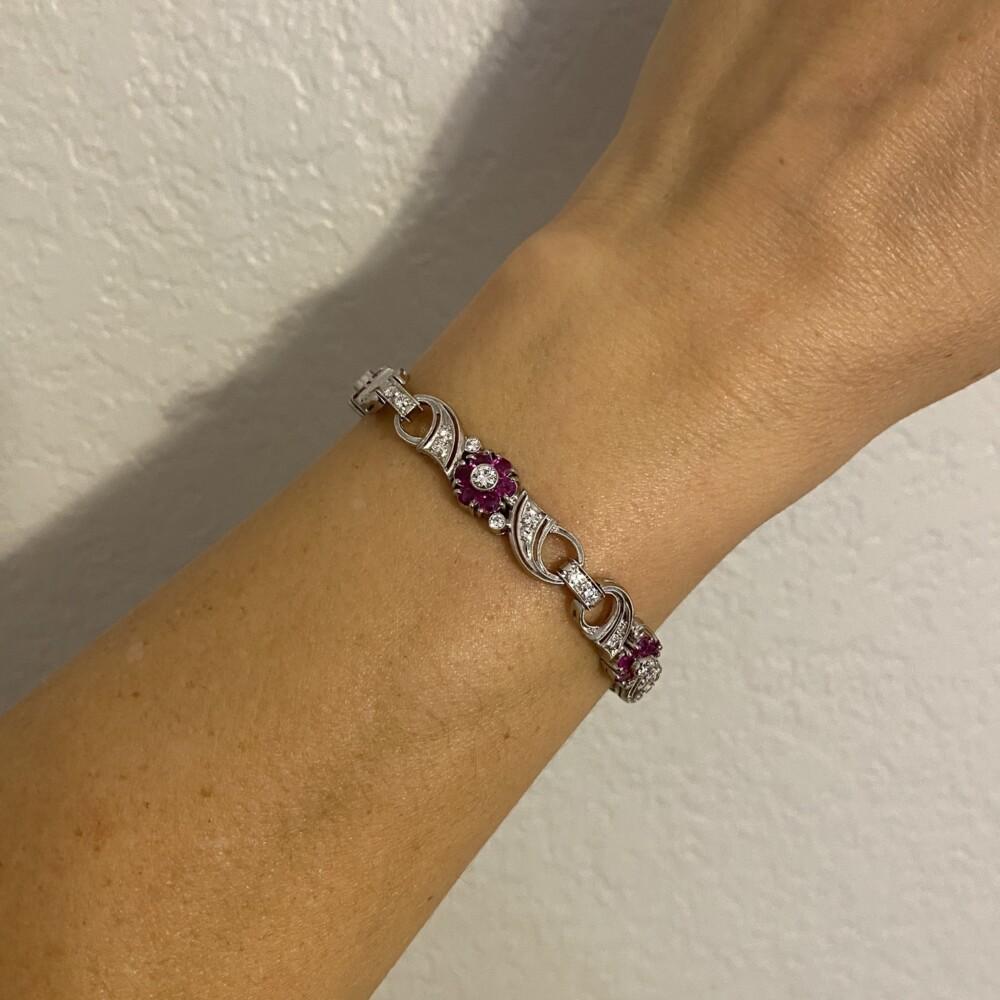"Palladium 1950's Ruby & Diamond Bracelet, 7"""