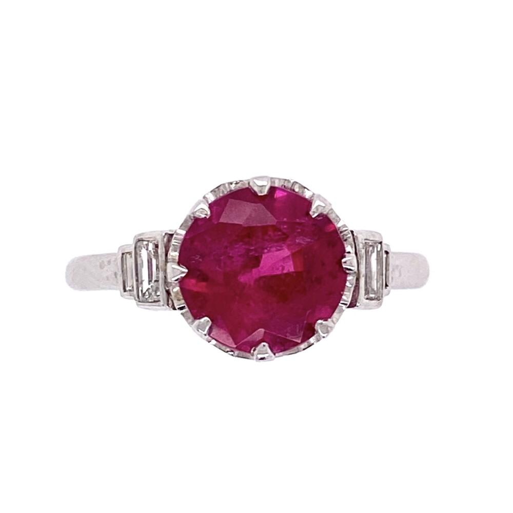 Platinum Art Deco 1.74ct Round Rubelite Tourmaline & .16tcw Diamond Ring, s6