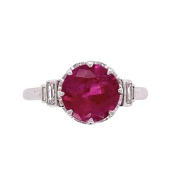 Closeup photo of Platinum Art Deco 1.74ct Round Rubelite Tourmaline & .16tcw Diamond Ring, s6