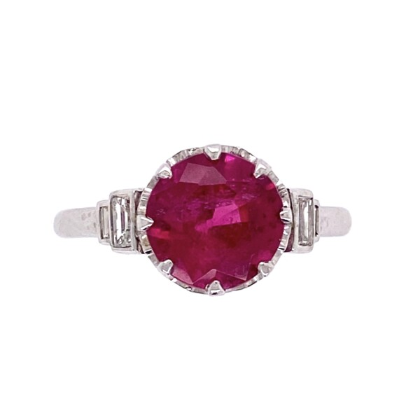 Closeup photo of Platinum Art Deco 1.74ct Round Rubelite Tourmaline & .16tcw Diamond Ring, s6