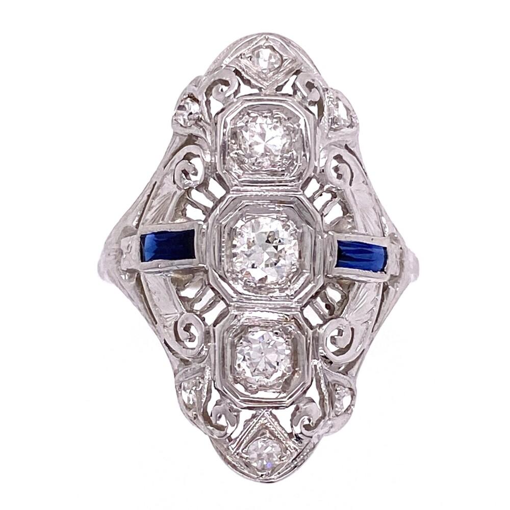 18K WG Art Deco Navette Diamond & Sapphire Ring, s6.5