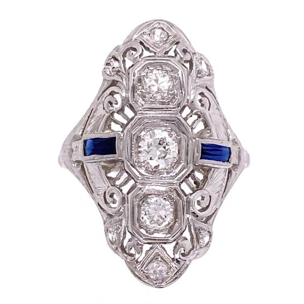 Closeup photo of 18K WG Art Deco Navette Diamond & Sapphire Ring, s6.5