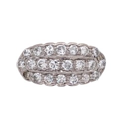 Closeup photo of 14K 2Tone Art Deco Diamond 3 Row Cluster Band .75tcw, s6.5