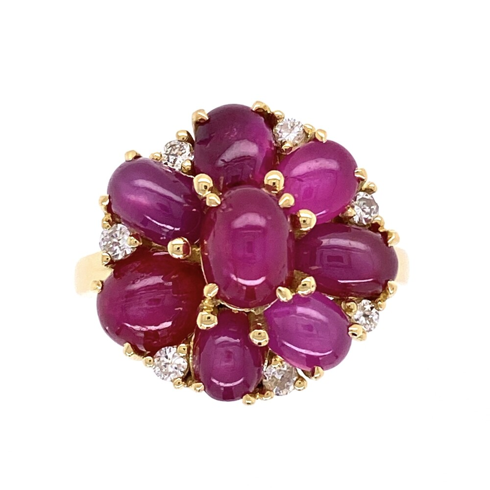 Image 2 for 18K YG 1960's 7.5tcw Burma Star Ruby Cluster Ring with .27tcw Diamonds, s7