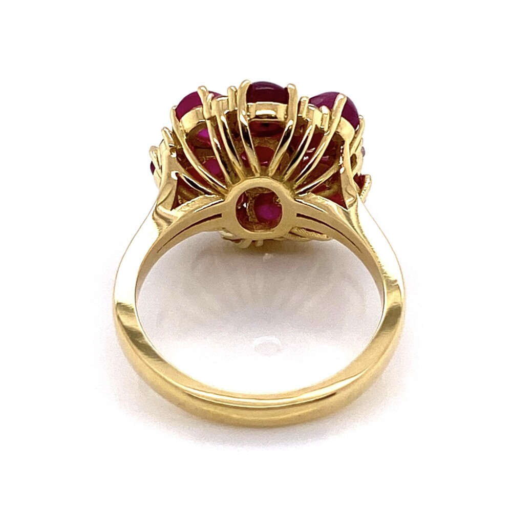 18K YG 1960's 7.5tcw Burma Star Ruby Cluster Ring with .27tcw Diamonds, s7