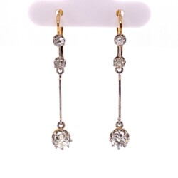 "Closeup photo of Platinum on 18K Edwardian 3 Diamond Drop Earrings 1.26tcw, 1.5"" Long"