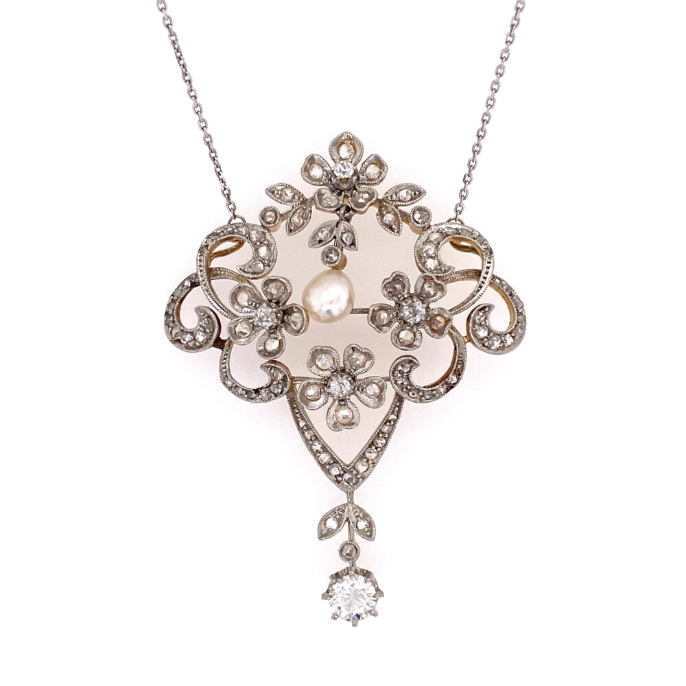 Image 2 for Platinum on 18K Edwardian 2.80tcw Diamond & Natural Pearl Necklace, 14K Chain 17""