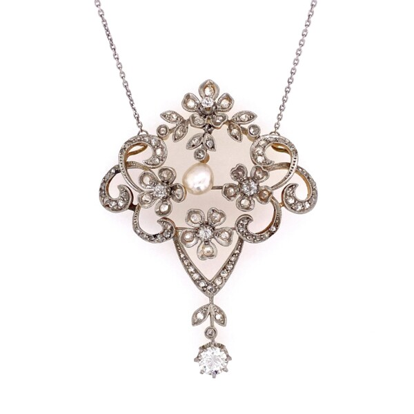 "Closeup photo of Platinum on 18K Edwardian 2.80tcw Diamond & Natural Pearl Necklace, 14K Chain 17"""