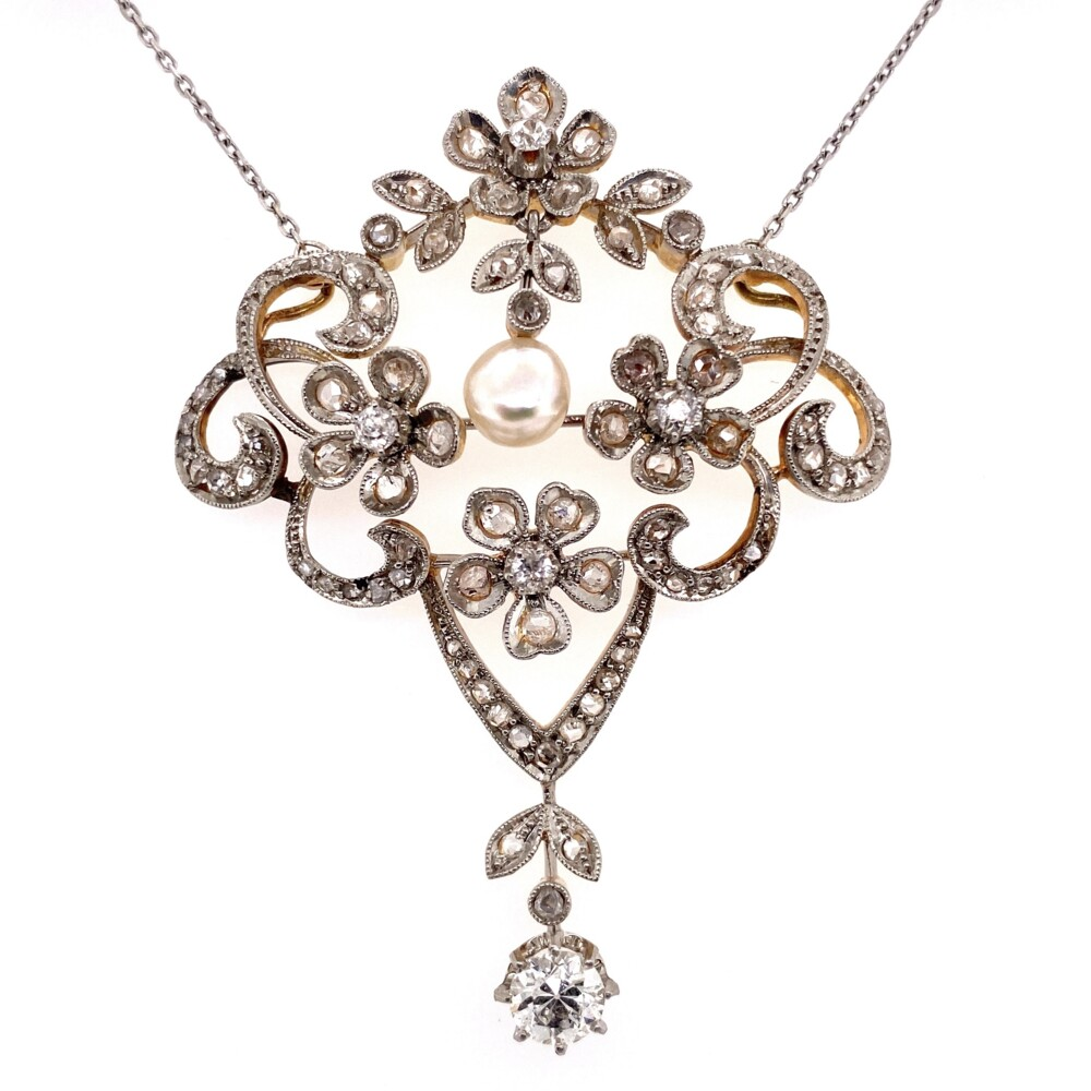 Platinum on 18K Edwardian 2.80tcw Diamond & Natural Pearl Necklace, 14K Chain 17""