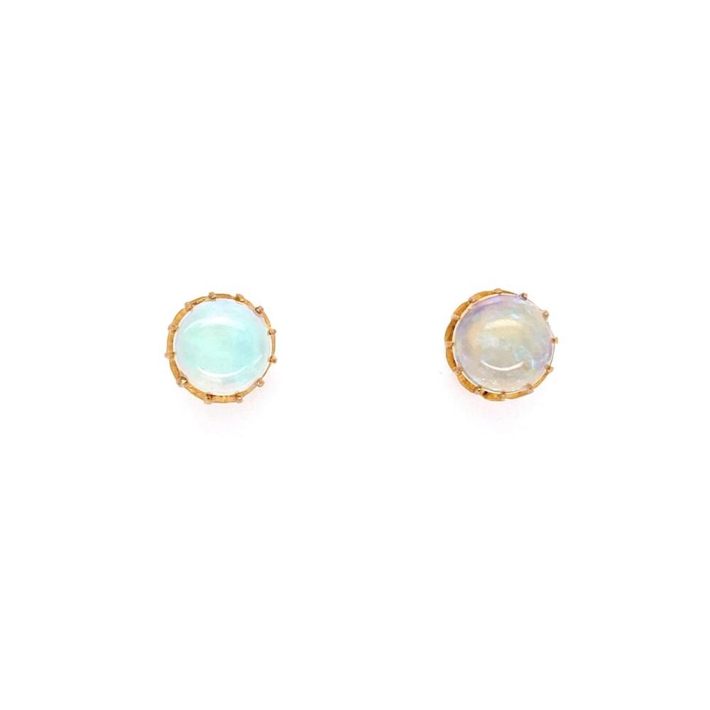 18K YG Victorian 12 Prong Opal Stud Earrings 2.00tcw