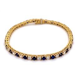"Closeup photo of 18K YG 3.75tcw Sapphire & 3.24tcw Diamond Line Bracelet 6.75"" Long"