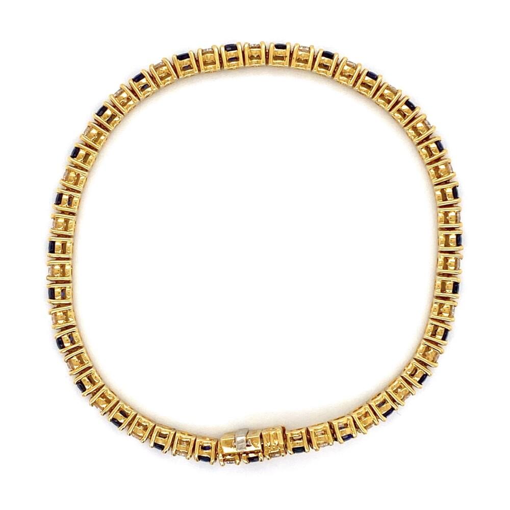 """18K YG 3.75tcw Sapphire & 3.24tcw Diamond Line Bracelet 6.75"""" Long"""