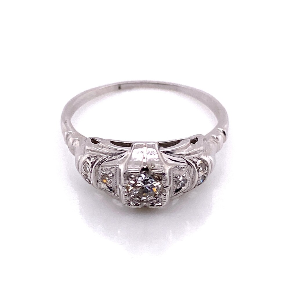Image 2 for 14K WG Art Deco .18ct Old European Cut Diamond Ring with .06tcw Sides, s7