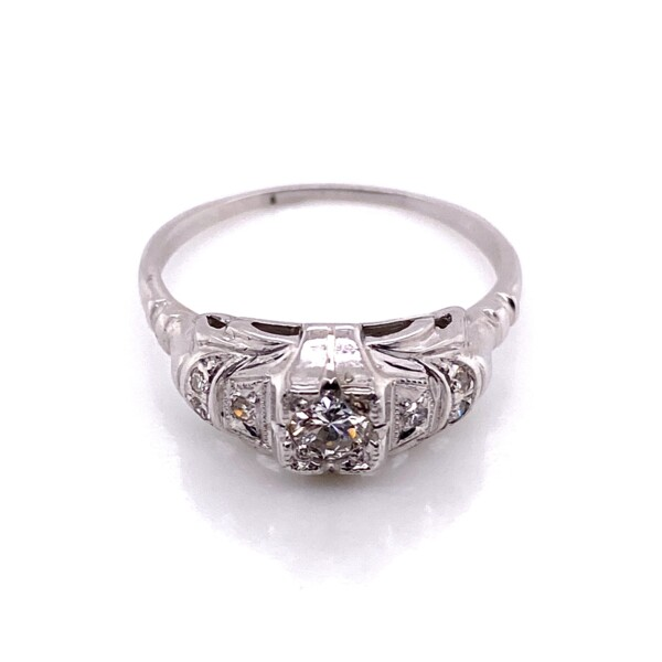 Closeup photo of 14K WG Art Deco .18ct Old European Cut Diamond Ring with .06tcw Sides, s7