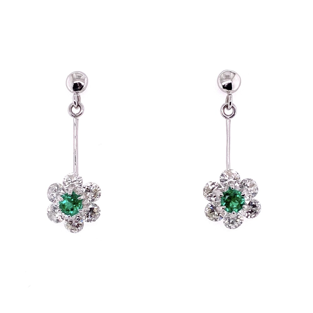 Platinum Emerald Drop Earrings with 1.75tcw Diamonds