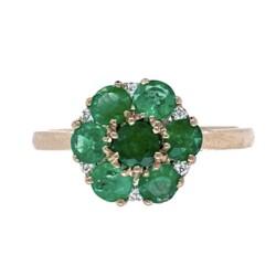 Closeup photo of 18K WG 1.06tcw Round Emerald Cluster & .07tcw Diamond Ring, s7