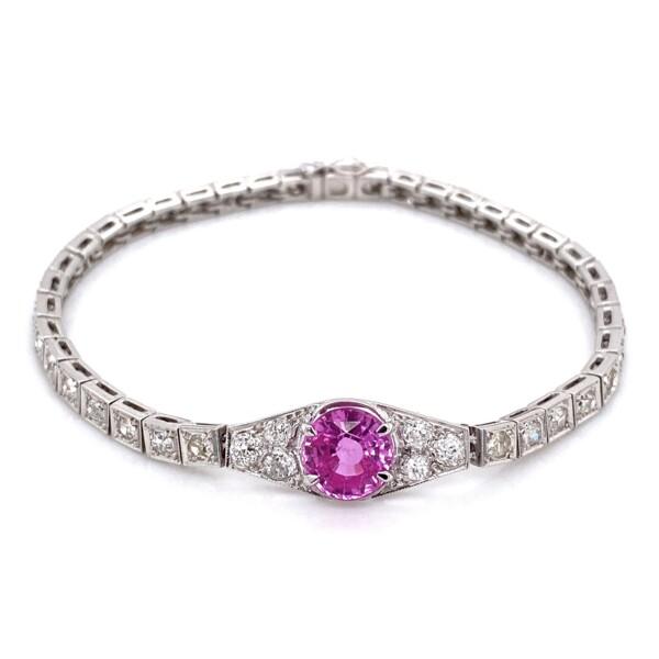 "Closeup photo of 14K WG 2.20ct Round Pink Sapphire & 2.25tcw Diamond Bracelet 12.6g, 6.5"""