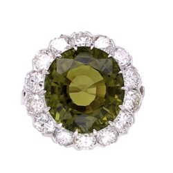 Closeup photo of Platinum Art Deco 8.21ct Oval Green Tourmaline & 1.68tcw Diamond Ring, s6.75