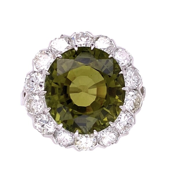 Closeup photo of Platinum Art Deco 8.21ct Oval Green Tourmaline & 1.68tcw Diamond Ring, s6.75