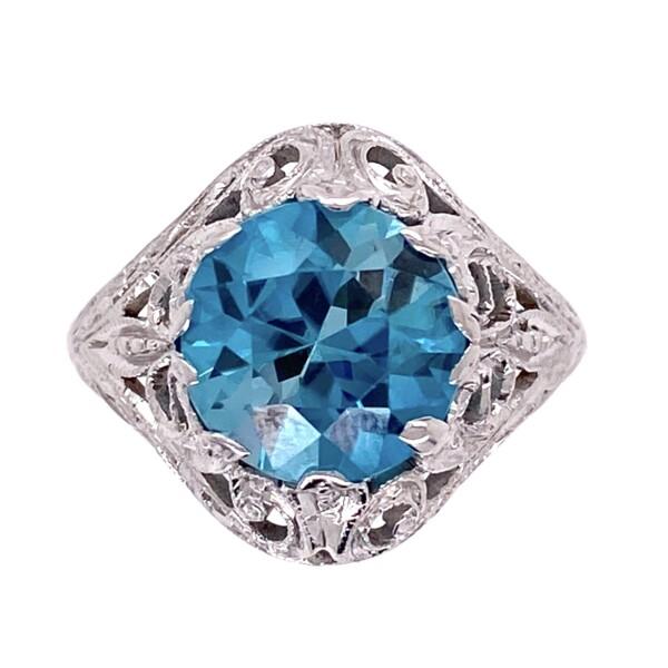 Closeup photo of 14K WG Art Deco 3.20ct Round Deep Blue Zircon Ring, s6.5