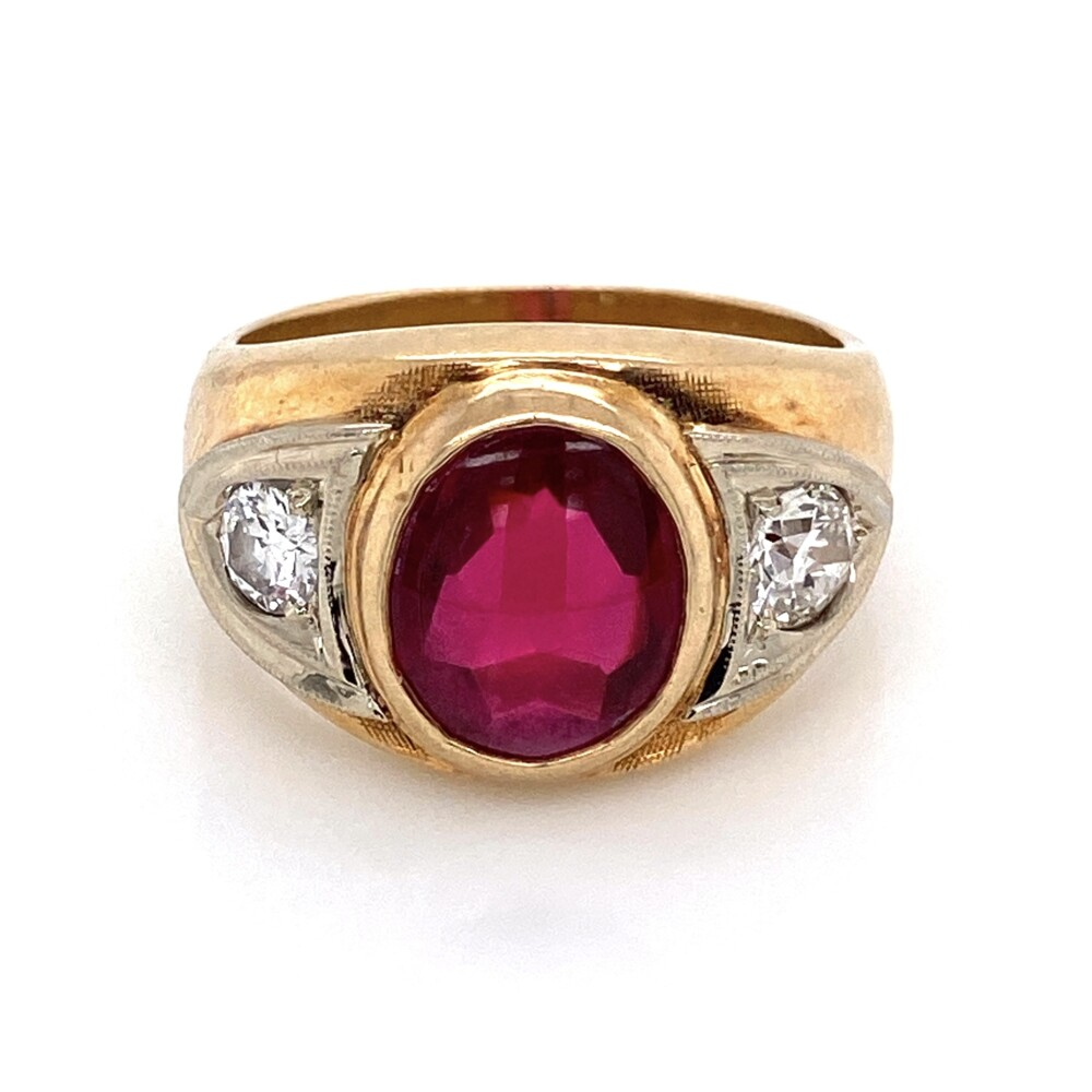 Image 2 for 14K YG Mens Synthetic Cabochon Ruby & 2 Old European Cut Diamonds .61tcw 15.1g