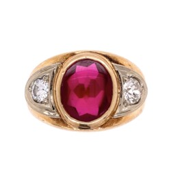 Closeup photo of 14K YG Mens Synthetic Cabochon Ruby & 2 Old European Cut Diamonds .61tcw 15.1g