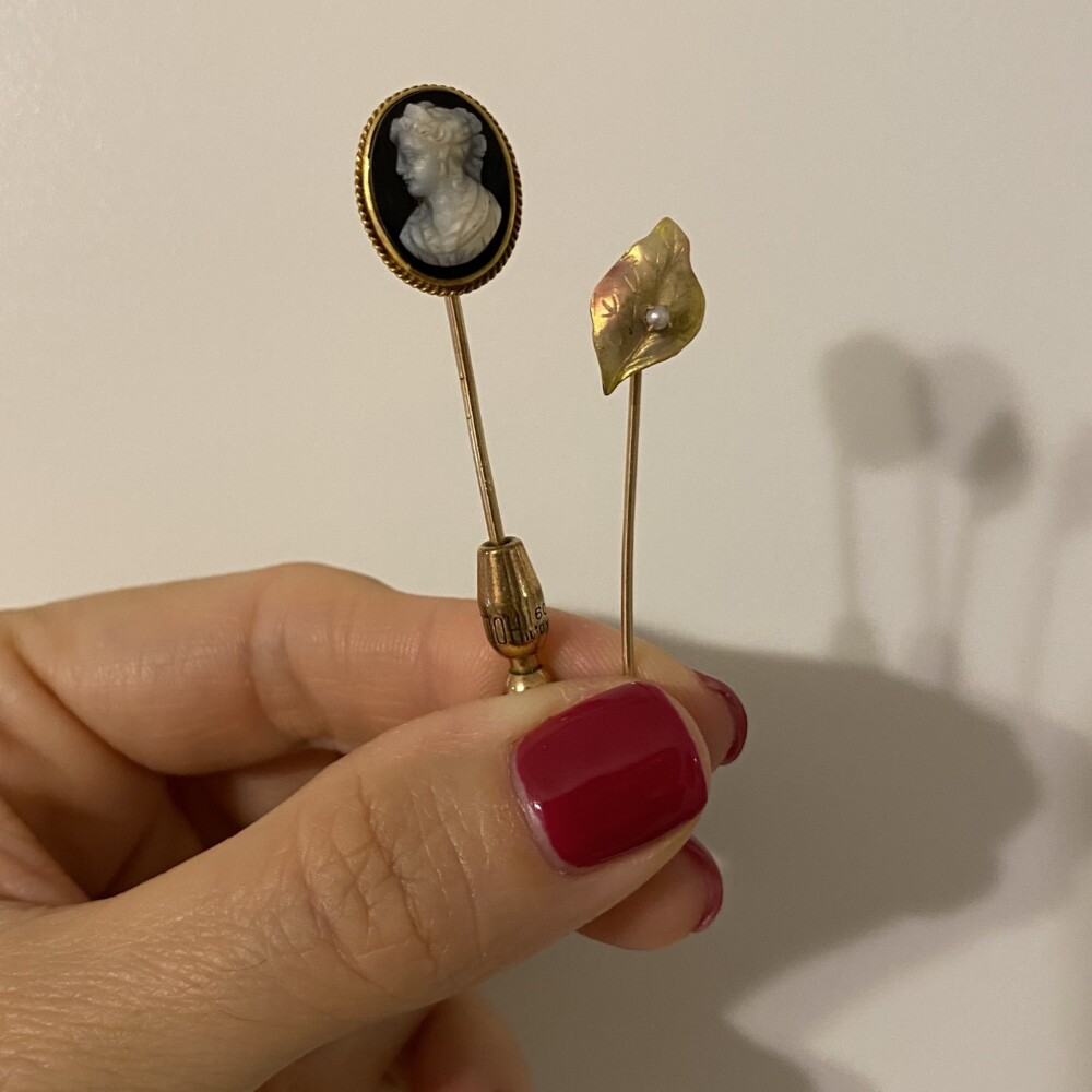"""Image 2 for 9K & 14K Victorian Hard Stone Onyx Cameo Stick Pin 2.3g, 2.75"""""""