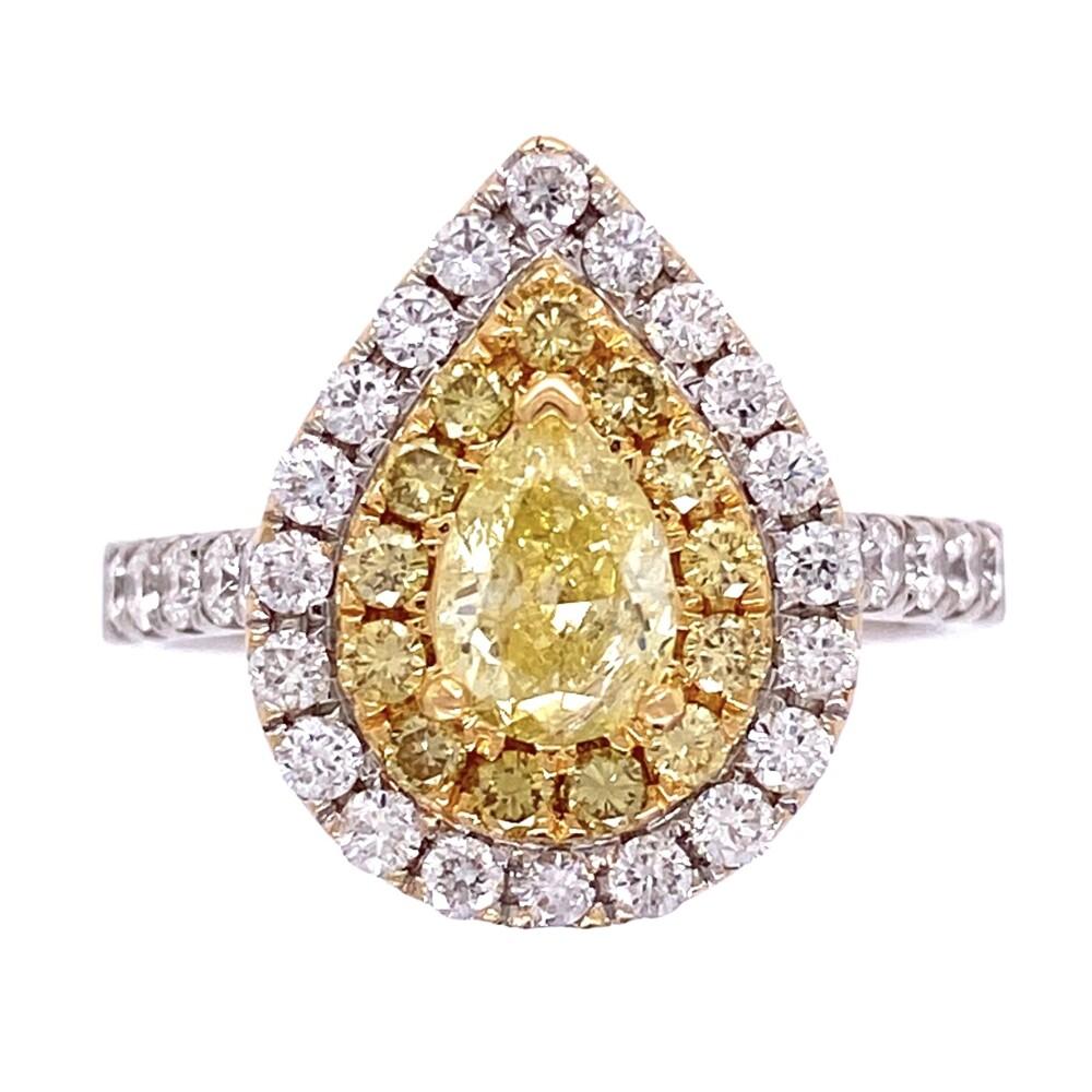 18K WG .1.56tcw Pear Shape Yellow Diamond with Double Halo Diamond Ring 6.6g, s8