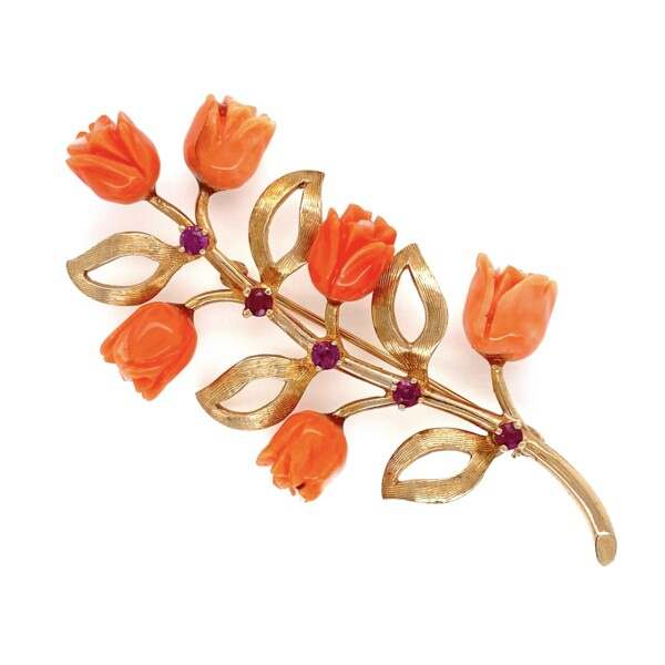 """Closeup photo of 14K YG 1960's Carved Coral Roses & Ruby Brooch Brooch 10.3g, 2.5"""" Tall"""