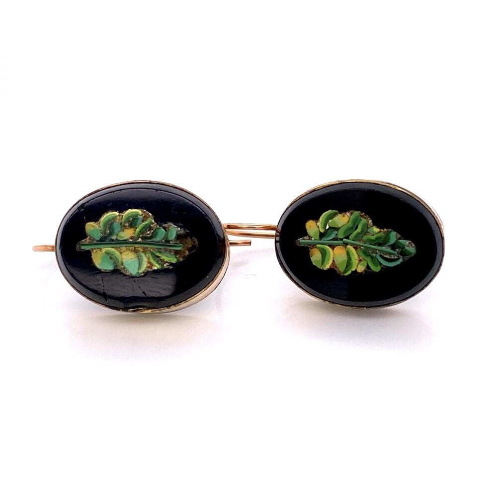 9K Victorian Micro Mosaic Set Brooch & Earrings Leaf Design in Onyx 18.8g