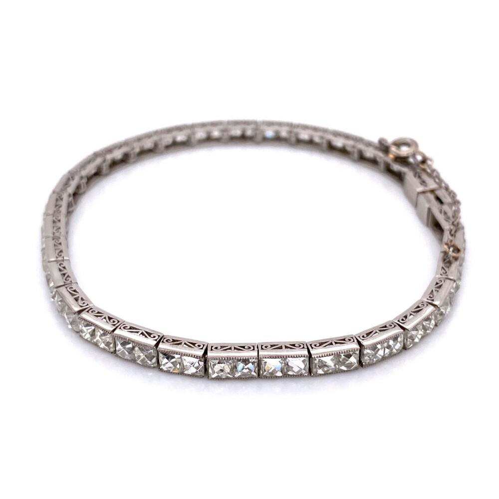 "Handmade Platinum French Cut Diamond Bracelet 12.9tcw, 7"""
