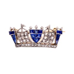 Closeup photo of Platinum on 18K Edwardian .75tcw Sapphire & .20tcw Diamond Brooch Pin 3.4g