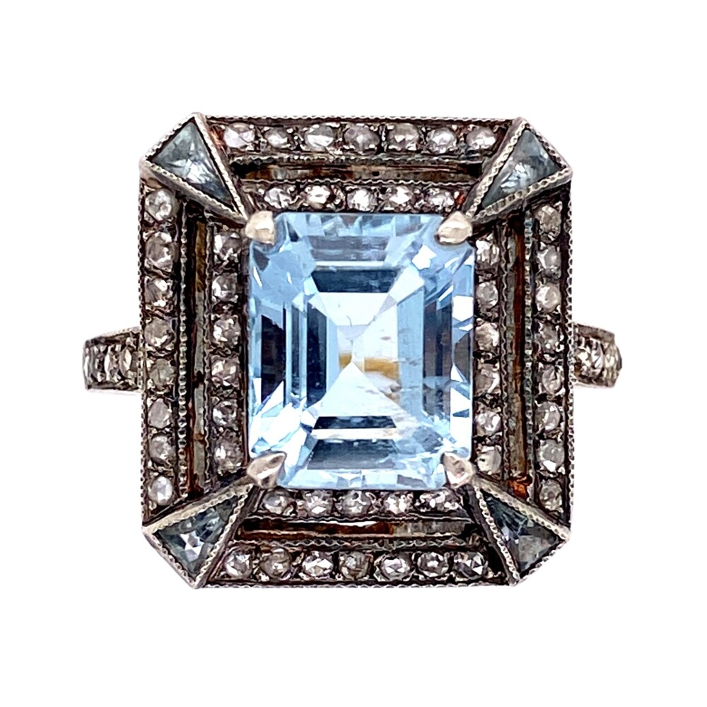 Image 2 for Silver on 18K Victorian 2.9ct Aquamarine & .60tcw Diamond Ring 4.5g, s7