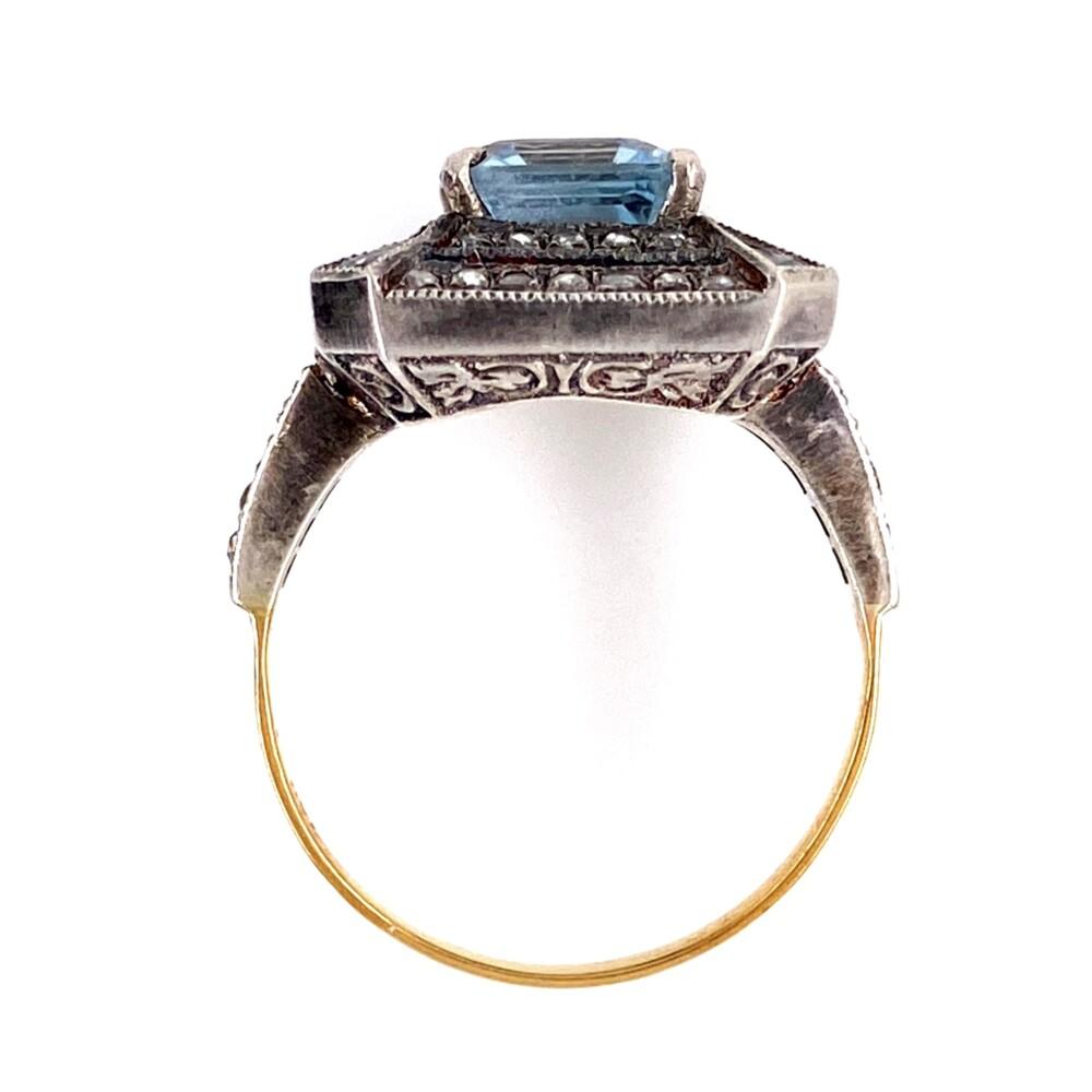 Silver on 18K Victorian 2.9ct Aquamarine & .60tcw Diamond Ring 4.5g, s7