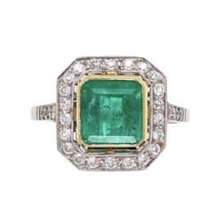 Closeup photo of Platinum Art Deco Style 1.60ct Emerald & Halo .40tcw Diamond Ring 3.9g, s6.75