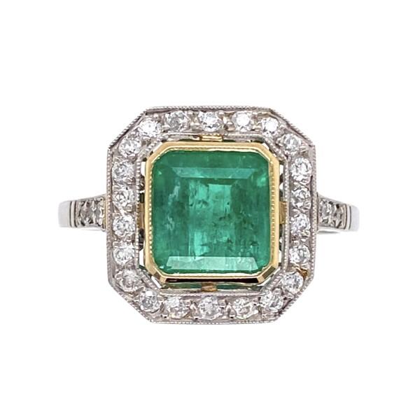 Closeup photo of Platinum Art Deco Style 1.60ct Emerald & Halo .40tcw Diamond Ring 3.9g, s6.75